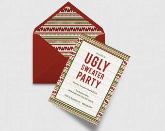 "Ugly Sweater Christmas Party 5"" x 7"" Invitation - Digital or Printed"