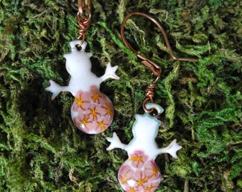 Hand Made Kiln Fired Glass Enamel Snowman with Pink Murrini Dangle Earrings on Copper Wire