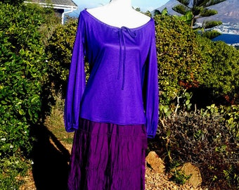 Purple  gypsy top, vintage tunic top, summer top, evening top, boho, gothic top, handfasting, festival, size uk 12 usa 10