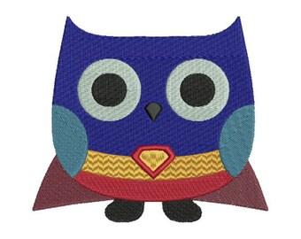 Owl Superhero Superman Super Man Halloween Machine Embroidery Design 4x4 and 5x7 Instant Download