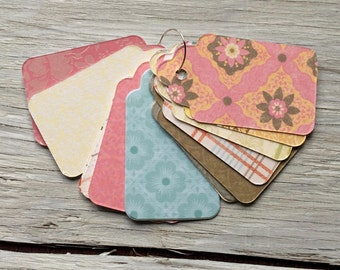 paper gift tags - handmade gift tag - patterned gift tags set of 20 medium size 3 inches