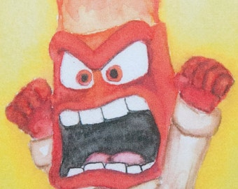 """Inside Out """"Anger"""" , art mini print, from original watercolor, home decor"""