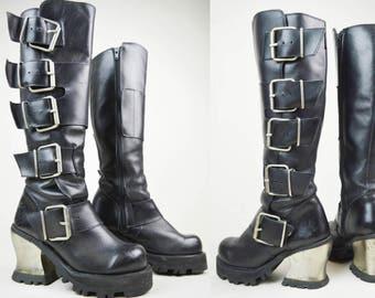 90s Grunge Goth Black Leather Destroy Metal Heel Buckled Knee High Platform Biker Boots UK 3 / US 5.5 / EU 36