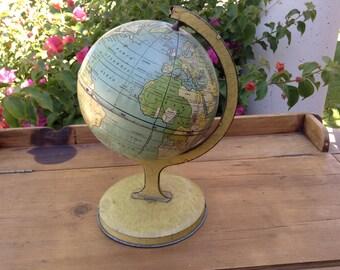 J. Chein & Co. Vintage Metal Globe on Stand, 1920