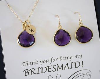 5 Amethyst Quartz Initial Bridesmaid Necklace and Earring set, Bridesmaid Gift, Purple Quartz, 14k Gold Filled, Monogram Jewelry
