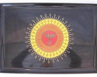Couroc Tray Aztec Sun Black Serving Tray Coffee Table Decor Bold Design 27