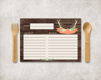Rustic Recipe Card Printable, Bridal Shower Recipe Card, Woodland Recipe Card, Printable Recipe Card, Advice for the Bride, Digital File