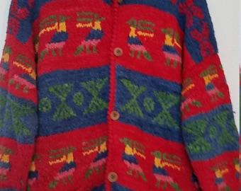 Vintage 80s Slouchy Wool Boxy Oversized Aztec Puruvian Express 1980s Chunky Sweater Medium