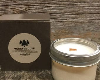 Firewood Scented 100% Soy Wax Mason Jar Candle With Wood Crackle Wick gift box included