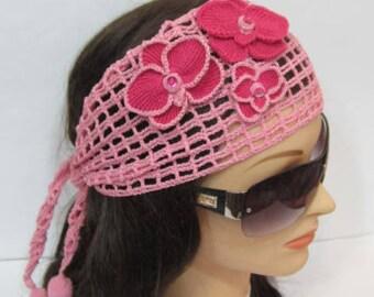 Crochet Summer Head wrap Headband, Women Boho Head scarf, Beach Hair Accessories Lace Head Bands Women Flower Headband with Orchid