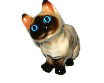 Vintage heavy Porcelain Siamese Blue glass eyes Cat Figurine figure Beautiful Lynx Point Pet Curious Kitty Kitten Korea