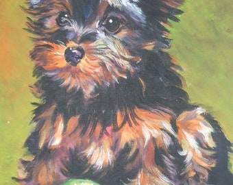 YORKIE Yorkshire Terrier dog art PORTRAIT canvas PRINT of LAShepard painting 12x16""