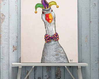 Silly Goose in Jester Hat - Silly Hats Goose art print cute gift for boyfriend cute home décor cute art print Kids room decor Nursery art
