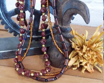 Chocolate brown necklace, 3 strands of Czech glass, wooden beads  and Japanese glass seed beads
