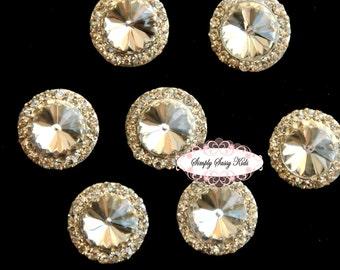 10pcs RD83 CLEAR Rhinestone Crystal Embellishments Flatback Buttons DIY Wedding Bridal Wedding Hair Clips Accessories