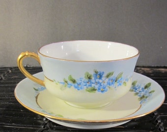 Vintage Havilland  blue flower cup and saucer