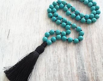 Tassel necklace- bohemian jewelry- long tassel necklace- beaded necklace- hippie necklace- turquoise necklace- beach jewelry, turquoise