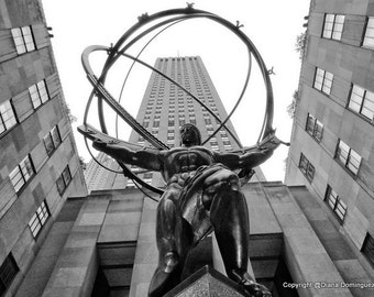 NYC Photography, Atlas Man,  New York City Photography,  NYC, wall art, home decor, Black and white Photos