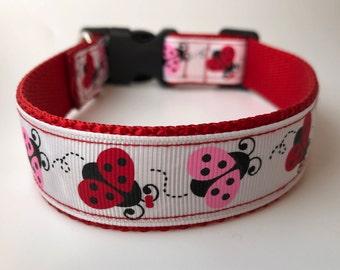 "Handcrafted 1"" Pink and Red LadyBug Dog Collar"
