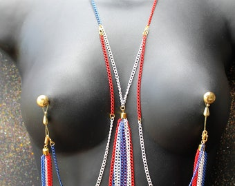 Nippleicious NON Piercing Nipple Jewellery - Nipple Noose - Nipple Piercing or Nipple Clamps Alternative - Erotic Jewelry Nipple Chain Set