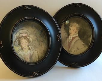 Sense and Sensibility Original Miniature Watercolor Set. Jane Austen Art.