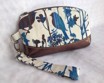 wristlet, blue brown, small clutch, birds, inside pocket, phone case, makeup bag, organizer, project bag,