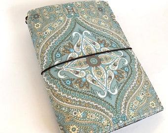 Traveler's Notebook Cover, Fabric Fauxdori, A5, Turquise, Script, Mandala, Fabric, Pen loop, Elastic Cord, Ready to Ship, TN, Fabric Journal