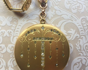 VICTORIAN Gold Filled Chandelier Locket with Book Chain