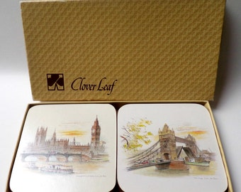 Vintage Set of 6 Clover Leaf Coasters, London Scenes by John Evans, Made in England, 1970s/80s