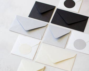 Metallic Envelopes - Mini / Small - 24 pc - Onyx (Black) / Silver / Opal (Ivory Cream)