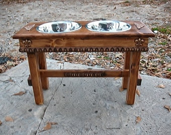 Raised Dog Bowl Stand, Large Dog Feeder, Elevated Dog Bowl, Large Dog, English Chestnut Stain, Raised Pet Feeder Rustic Style, Made to Order