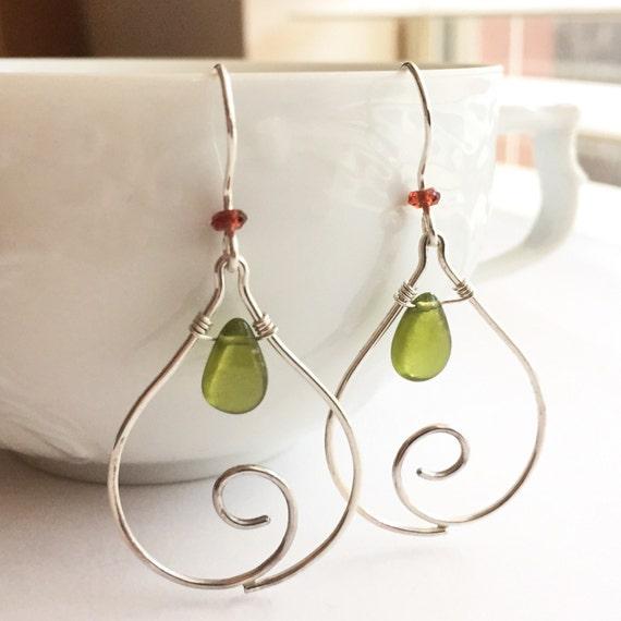 Lotus Collection: Spiral Petal Earrings with Vesuvianite and Garnet, Spiral Earrings, Curvy Earrings, Elegant Gem Earrings