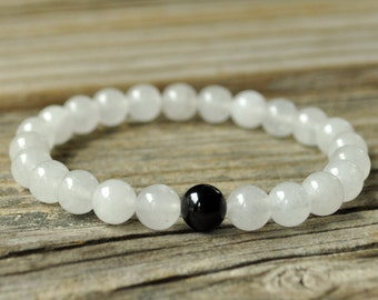 Earth Star Chakra Mala, Black Onyx Bracelet, White Jade Bracelet, Base Chakra Bracelet, Crystal Healing, Yoga Bracelet, Meditation Bracelet