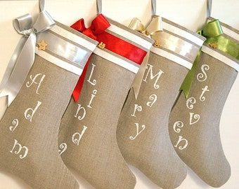 Personalized Christmas stockings in burlap Christmas stockings