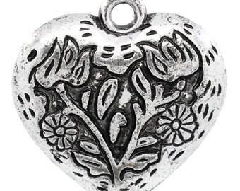 1 charm heart motif Charm pendant nature 30x30mm