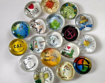 """10 large Geostones (1  1/2"""") Assorted images and sayings- Geocaching Swag."""