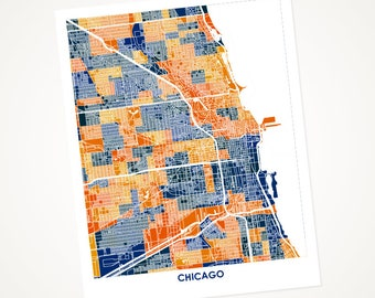 Chicago Map Print.  Choose the Colors and Size.  Perfect Art for your favorite Blackhawks, Bulls, Bears, or Cubs Fan.