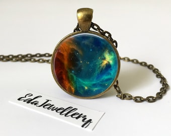 Blue and Orange Nebula, Space Jewellery, Universe, Solar System, Galaxy Necklace