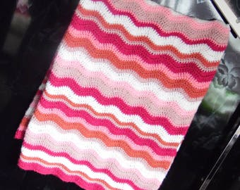 custom handmade crochet pink ripple baby blanket
