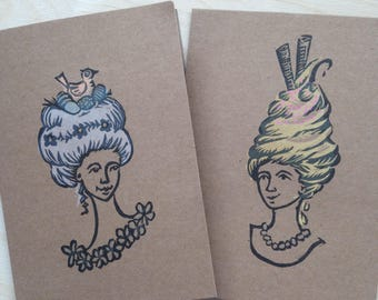 Handprinted card - Georgian lady Spring and Summer big hair