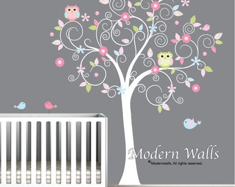 Nursery Wall Decals-Removable Wall Decals-Reusable Wall Decals-Tree Decals with Birds,Flowers,Owls-Baby,Children,Kids,Wall Decor-e44