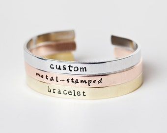 Custom Metal-Stamped Cuff Bracelet - Design Your Own Jewelry - Aluminum, Brass, or Copper - Custom Bracelet - Custom Jewelry