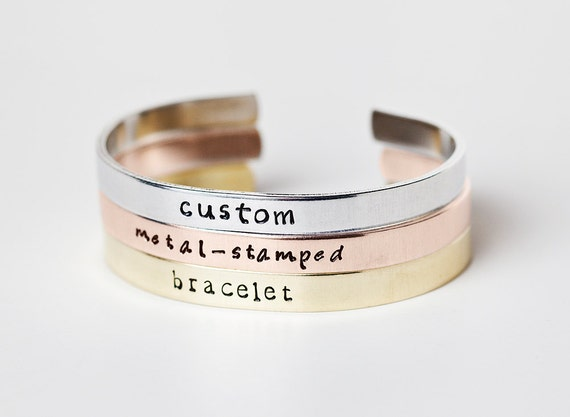 cuff jewelry sterling ori gift custom stamped hand details silver bracelet for personalized mommy bangle