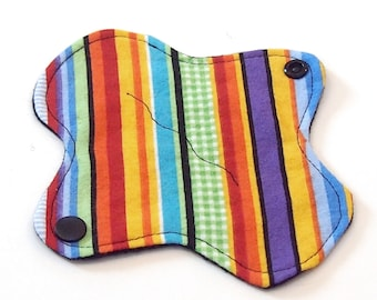 "6"" Reusable Cloth winged ULTRATHIN Pantyliner - Rainbow Ribbon Stripes w Black back - Cotton flannel top"