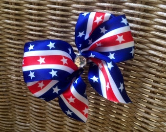 Patriotic Red White Blue Bow Hair Clip