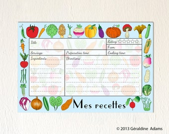 Recipe Cards set of 12 6x4 cards French Vegetables Mes Recettes 2 sides gift for a cook gourmet Bridal shower gift hostess gift