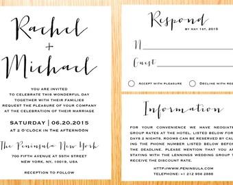 Digital Printable Wedding Invitation Suite Set Classic Simple Modern Minimalist Wedding Set Custom Made Wedding Set Invitation Kits WI015