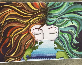 Mother Earth| copic markers| earth| art