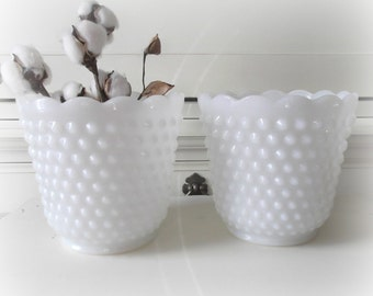 Milk Glass Planters, Two Vintage Hobnail Milk Glass Flower Pots, Wedding Decor