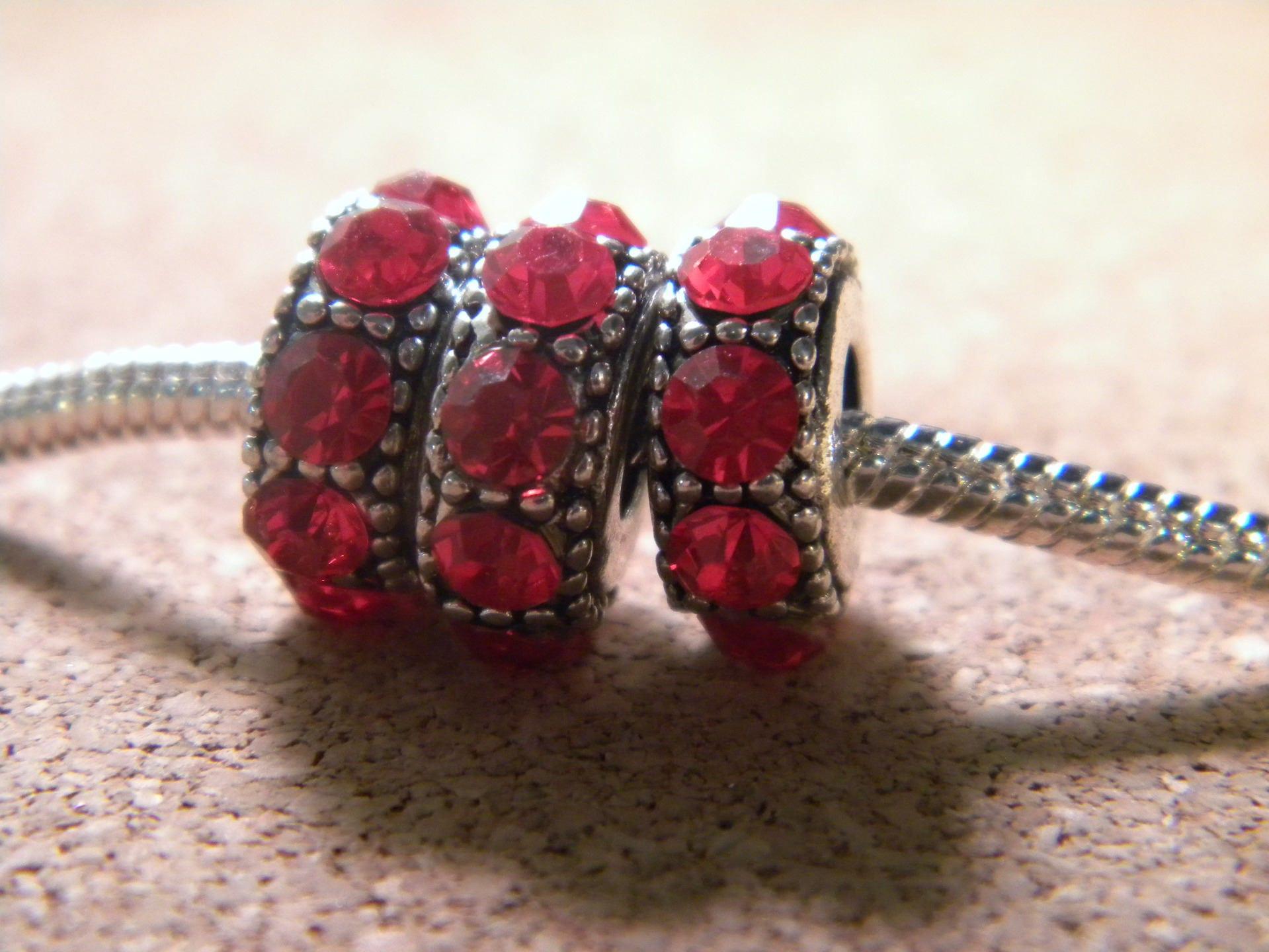 Pearl Red Crystal-rhinestones-European charms 14 x 6